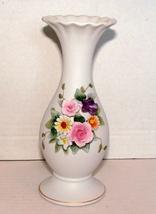 Vintage Lefton China 6.5 inch Vase w/Raised FloralS STUNNING - $15.00