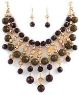 Stunning golden brown crystal beaded bib fashion statement necklace earring set - $18.81