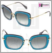 Miu Miu Noir 07O Glossy Leather Blue Grey Gold Square Sunglasses SMU07O - $252.45