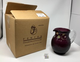 Fenton Aubergine Purple Hand Painted Pitcher - New With Box and Tags! #6... - $119.50