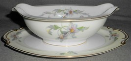 Sango Silver Poppy Pattern Gravy Boat w/Attached Underplate Made In Japan - $69.29