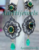 Victorian 3.51ct Rose Cut Diamond Emerald Lovely Earrings Vintage VTJ EHS - $961.45