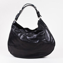 Ralph Lauren Black & Silver Tone Leather Hobo Bag - $132.00