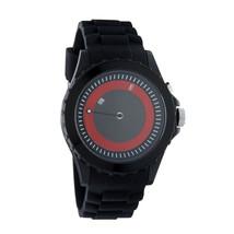Flud Unisex THN005 Retro Illuminato Analogico Movimento Watch Gomma Nera Rosso
