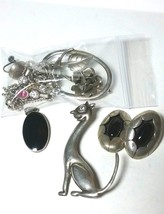VINTAGE STERLING SILVER WEAR SCRAP JEWELRY PANNA MEXICO CAT PIN BEAD CHAIN - $95.00