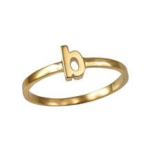 Yellow Gold Initial Letter B Stackable Ring - $79.99