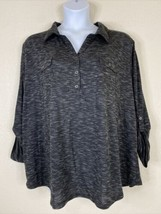 Faded Glory Womens Plus Size 4X Gray Knit Popover Pocket Blouse Long Sleeve - $18.00