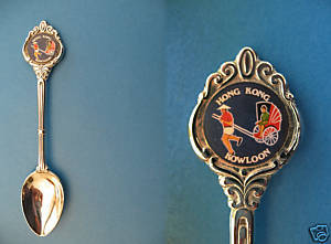 KOWLOON HONG KONG RICKSHAW Collector Souvenir Spoon