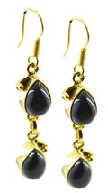 exquisite Black Onyx Gold Plated Black Earring genuine gemstones US gift - $14.84