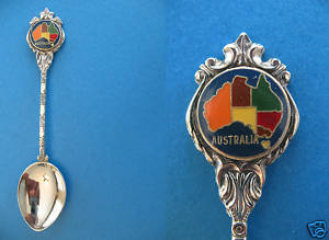 AUSTRALIA MAP STATE TERRITORY Collector Souvenir Spoon