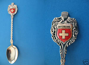SWITZERLAND SWISS FLAG Collector Souvenir Spoon