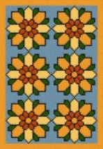 Latch Hook Rug Pattern Chart: Sunflower Quilt - EMAIL2u - $5.75