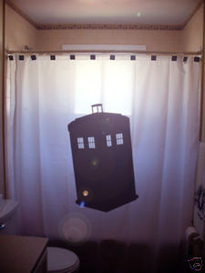 SHOWER CURTAIN police box phone telephone kiosk callbox