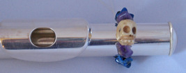 Flute Charm/Carved Skull w/Amethyst/Lapis/Hematite Beads/Jazz Up Your Flute! - $8.95