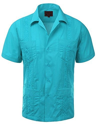 Guayabera Men's Cuban Beach Wedding Short Sleeve Button-Up Casual Dress Shirt (4