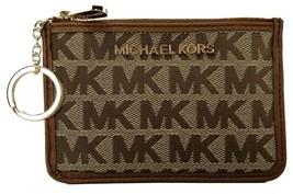 Michael Kors Purse Coin Pouch Brown Beige Canvas Logo Monogram Small - $128.17