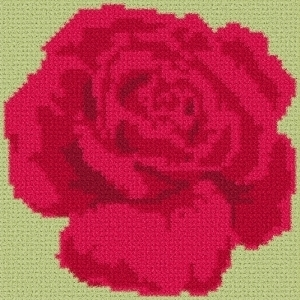 Latch Hook Rug Pattern Chart: ROSE pillow top - EMAIL2u