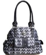 M LOGO unbranded Jaquard HANDBAG DESIGNER LOOK GREY SATCHEL BLACK TRIM P... - $29.99