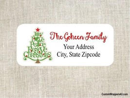Christmas Holiday Tree Return Address Labels Personalized - $4.95