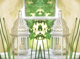 2 Moroccan Style Candle Lanterns Lacy White w/ Ivy Vine Design Etched Glass - $31.63