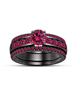 1.85Ct Pink Sapphire 14k Black Gold Plated 925 Silver 3Pcs Engagement Ring Set - $144.98