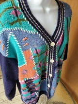 Ivy Sweater Cardigan Navy Large Button Crocheted LS Shoulder Pads - $12.38