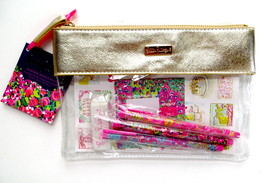Lilly Pulitzer Agenda Bonus Pack Stickers Pens Zip Pouch Wild Confetti G... - $28.00