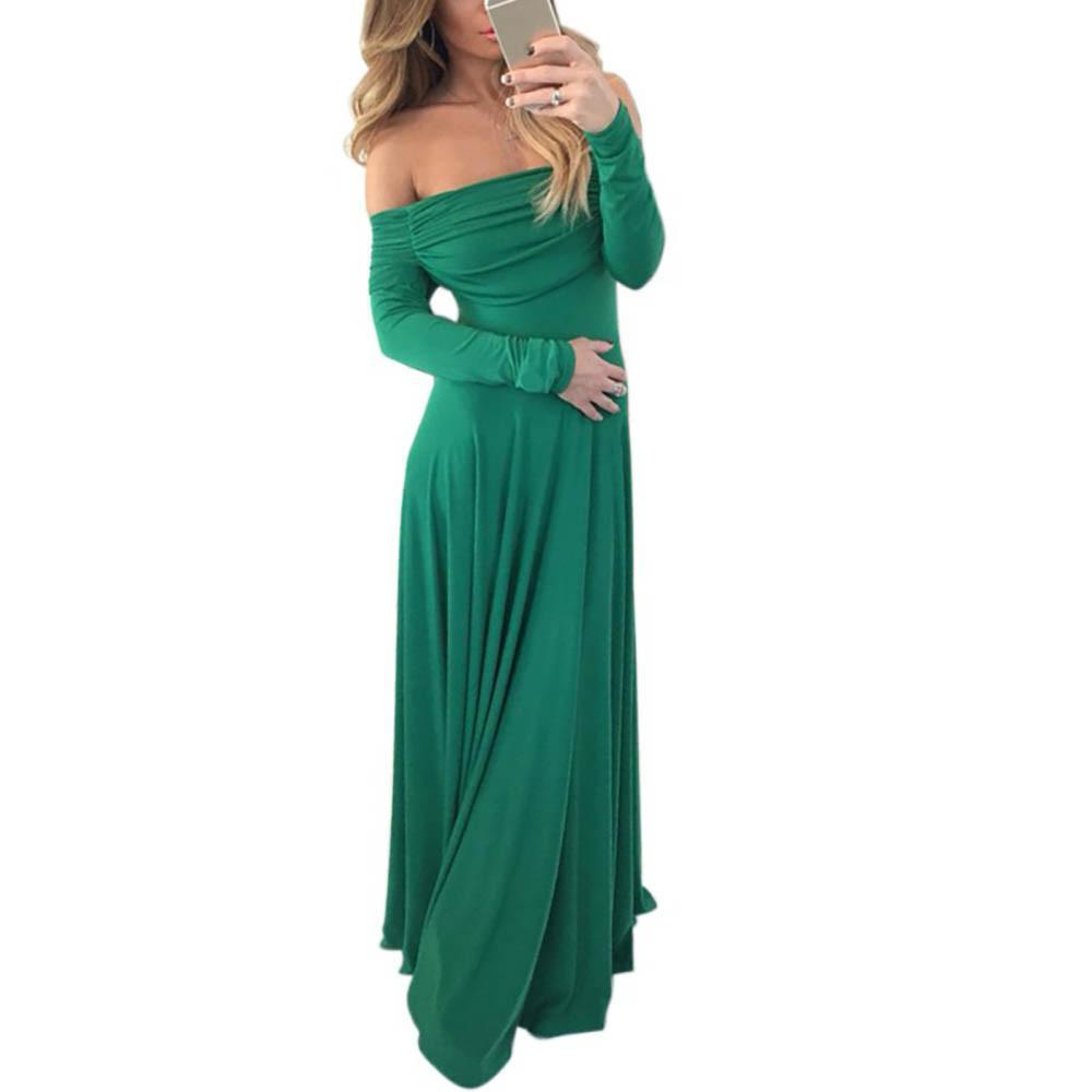 Elegant Off Shoulder Long Sleeve Spring Autumn Women's Party Dress High Waist Lo - $59.97