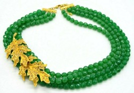 Couture Green Faux Jade Glass Bead Heavy Choker Large Rhinestone Leaf Accented - $89.09
