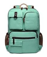 School Backpack Vintage Canvas Laptop Backpacks Men Women Rucksack (Mint... - $48.31
