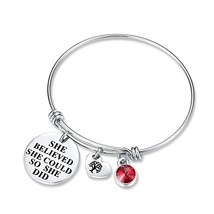 July Birthstone Charm Bracelet - She Believed She Could So She Did Brace... - $12.13