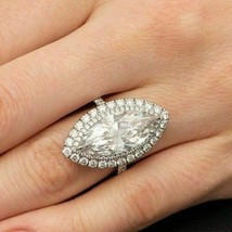 Certified 3.20Ct White Marquise Halo Diamond Engagement Ring in 14K Whit... - $281.97
