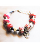 Red Glass Large Hole Beaded and Angel Leather Euro Bracelet - $25.00