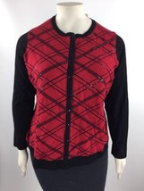 Charter Club Knit Buttoned Cardigan Sweater Women's Red Black Plus Size ... - $26.72