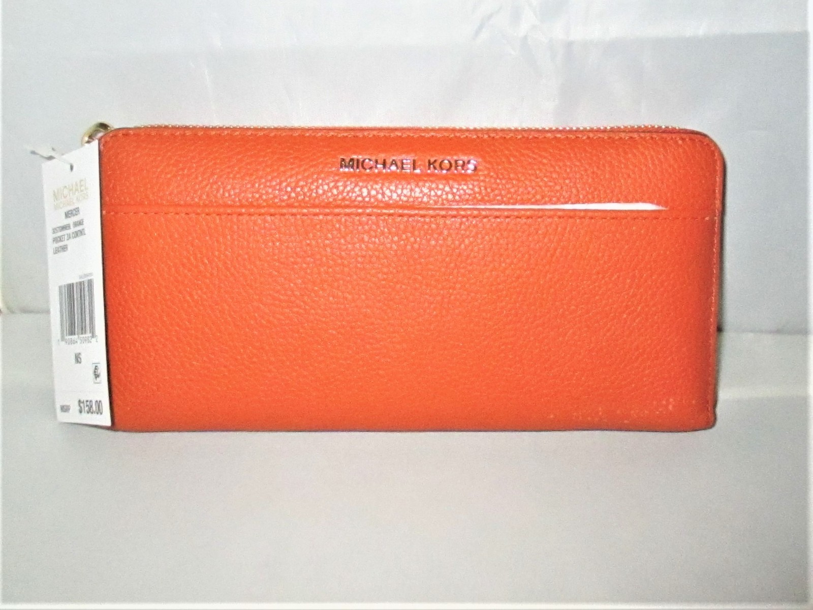 07d7685a3eeb Img 5217. Img 5217. Previous. Michael Kors Mercer Pebbled Leather  Zip-Around Continental Wallet $158 Orange