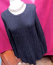 Ann Taylor Black Label Wool Blend Black Sweater Top Sz M Medium Knit - $9.50