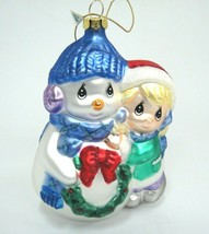Precious Moments Blown Glass Christmas Ornament Girl Hugging Snowman 2006 - $14.84
