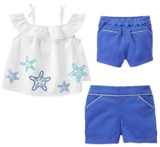 Gymboree 6-12 Outfit Starfish Cotton Top Blue Silver Shorts NWT Tide Pool - $12.19