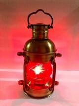 Nautical Brass Lantern Electric Red Lamp Decorative Hanging Lantern Mari... - £92.48 GBP