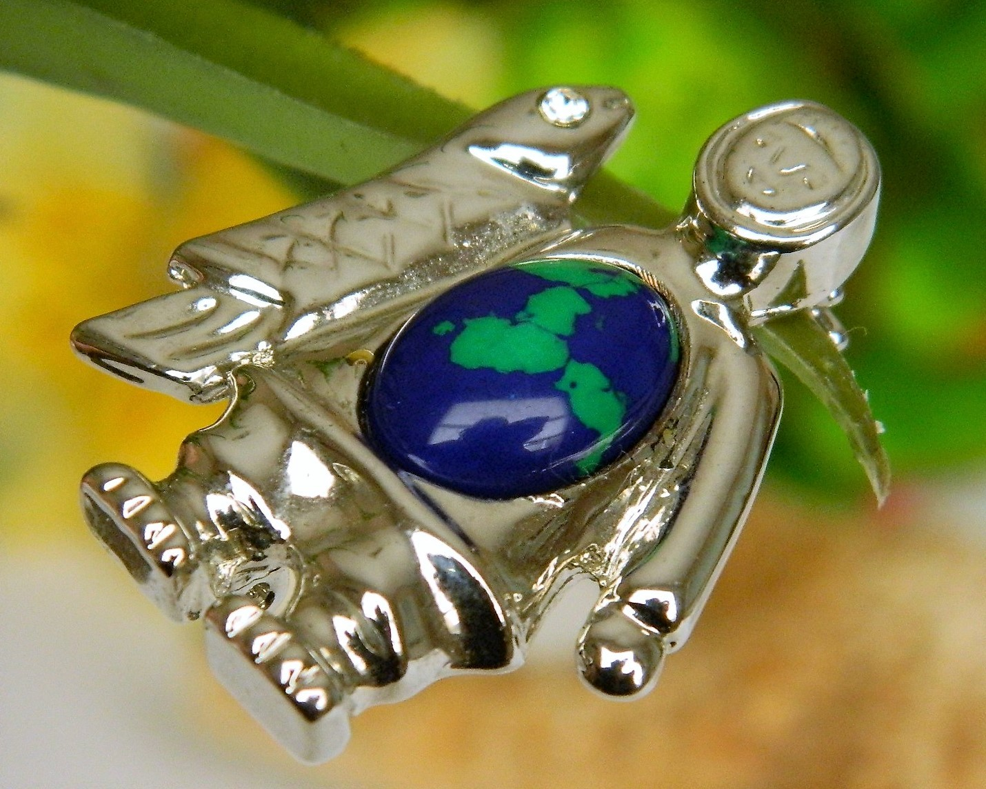 Vintage Eskimo Inuit Fish Jelly Belly Brooch Pin Silver Tone Cabochon image 10