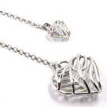 Necklace Silver 925, Double Heart Convex and Perforated Pendant, by Maria Ielpo image 3
