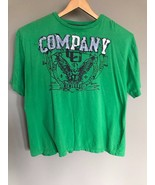 Mens Green Graphic  T-Shirt  2XLT  by COMPANY 81  S/S V-Neck 100% Cotton - $9.41