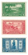 1925 Lexington Concord Set of 3 US Postage Stamps Catalog Number 617-19 MNH