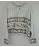 Vintage 1980's Liz Wear Womens Gray Fair Isle Sweater Size Large - $23.36