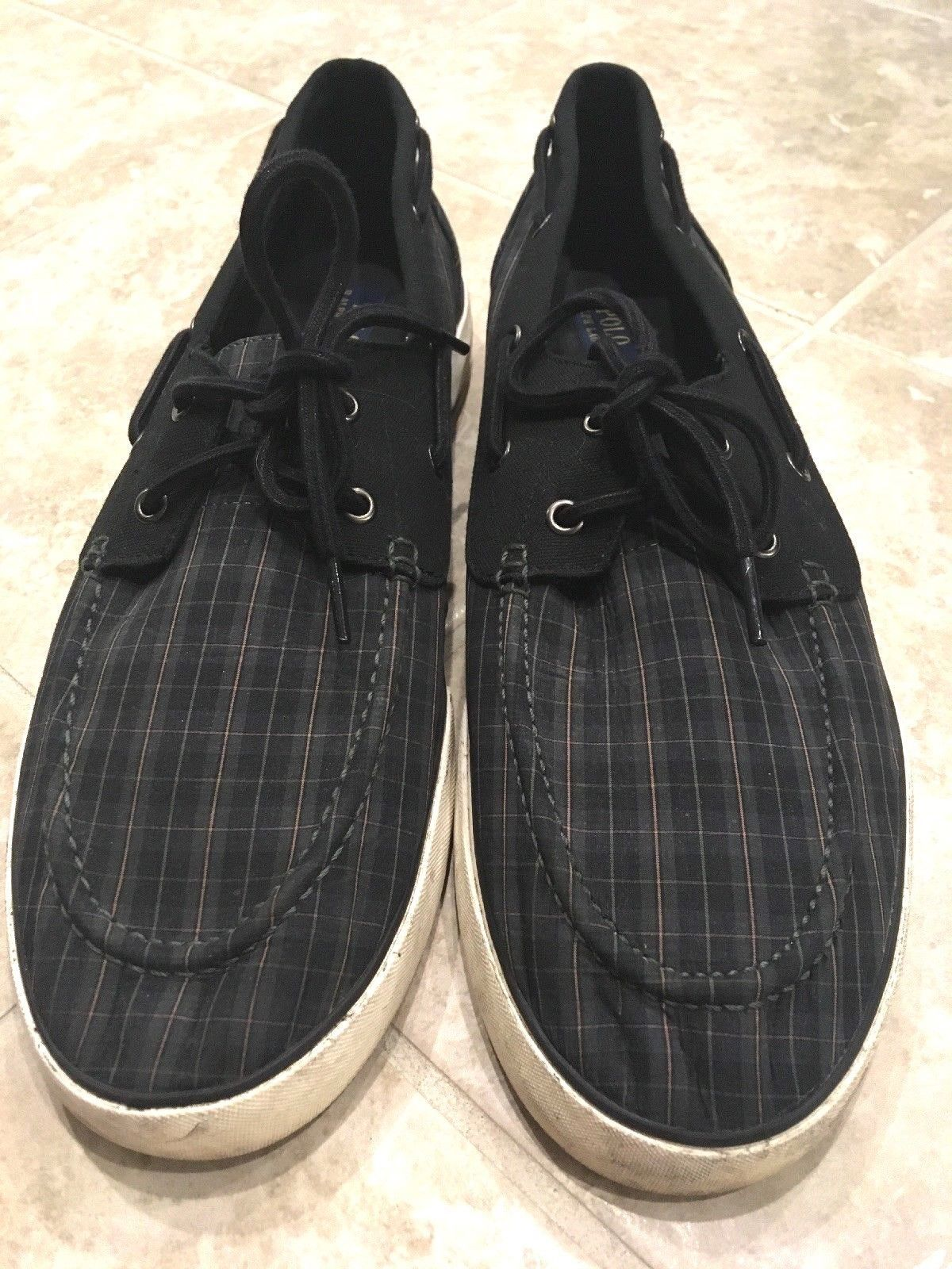 Polo Ralph Lauren Lander Black Green Sapphire Plaid Logo Sneakers Boat Shoes 15