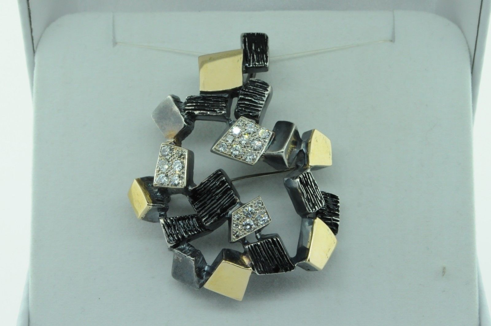 Primary image for Vintage (ca. 1980) Sterling Silver 14K Yellow Gold Paved Diamond Large Pendant