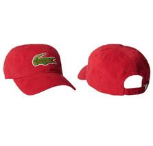 Lacoste Men's Classic Gabardine  Cotton Big Croc Logo Adjustable Red Hat Cap