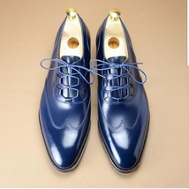 Handmade Men's Blue Wing Tip Lace Up Dress/Formal Leather Shoes image 4