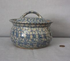 Blue Spongeware Stoneware Bean Pot with Lid - $69.95