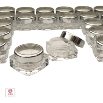200 Cosmetic Jars Beauty Lip Balm Containers Silver Trim Acrylic Lid 10 ... - $259.95